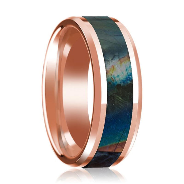 14K Rose Gold Mens Wedding Ring Inlaid with Spectrolite Beveled Edge Polished Design - AydinsJewelry
