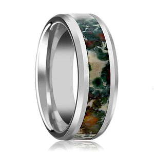 Tungsten Coprolite Fossil Inlay - Tungsten Wedding Band - Beveled - Polished Finish - 8mm - Tungsten Wedding Ring - AydinsJewelry