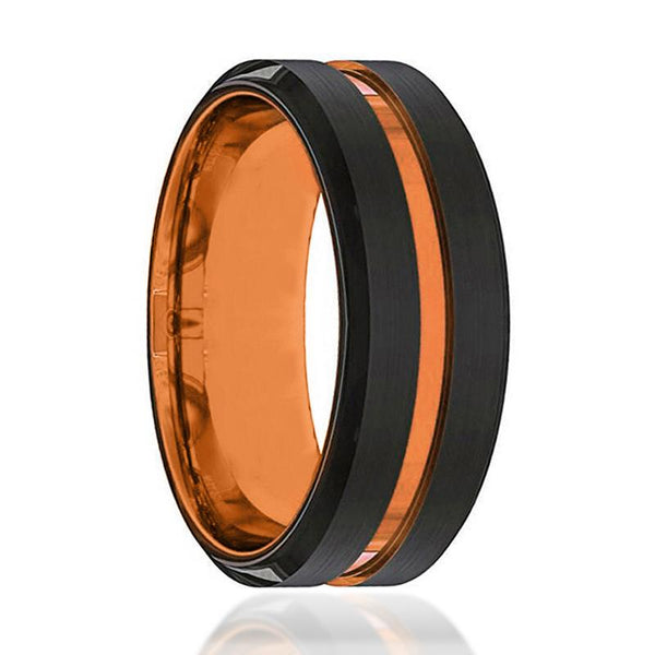 Black And Orange Tungsten Mens Wedding Band Tungsten Ring Luscious Orange Tungsten Wedding Band - AydinsJewelry