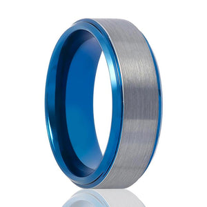 Aydins Tungsten Wedding Ring Blue and Silver Center Stepped Edge 8mm Tungsten Carbide Ring - Rings - Aydins_Jewelry