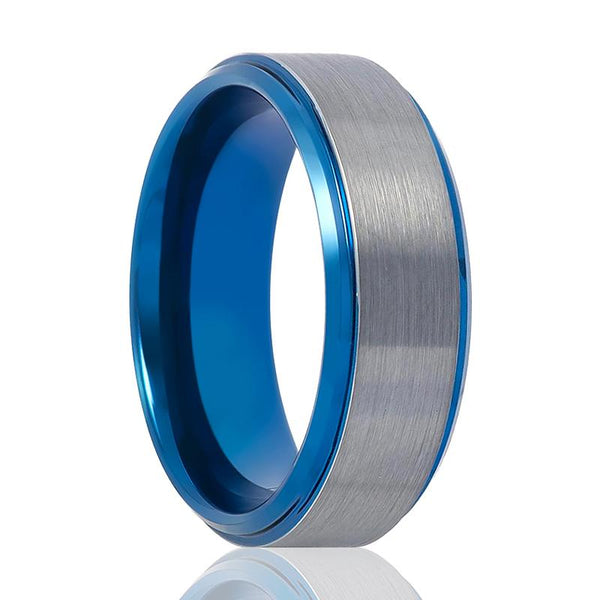 Aydins Tungsten Wedding Ring Blue and Silver Center Stepped Edge 8mm Tungsten Carbide Ring - AydinsJewelry