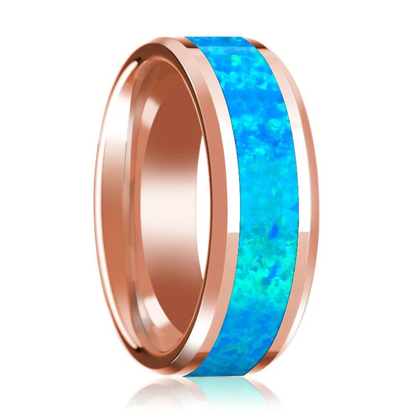 Blue Opal Inlay Beveled Edge Mens Wedding Band 14K Rose Gold Polished Design - AydinsJewelry