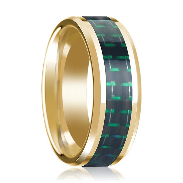 14K Yellow Gold Mens Wedding Band with Black & Green Carbon Fiber Inlay Beveled Polished Design - AydinsJewelry