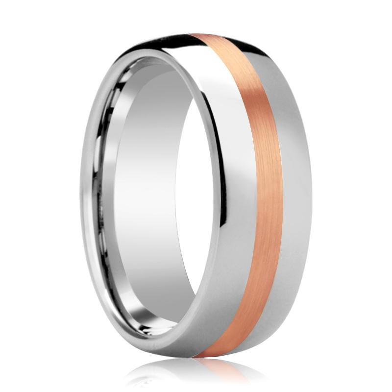 Silver Polished Couple Matching Wedding Band with 14k Rose Gold Stripe Inlay