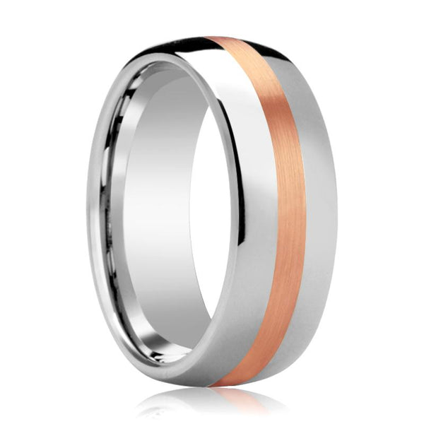 Wedding Ring Tungsten with 14k Rose Gold Stripe Inlay Domed Polished Finish 6mm, 8mm