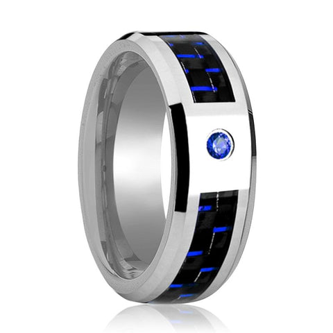 HENRY Tungsten Ring With Carbon Fiber Inlay & Blue Diamond Setting - 8MM - Rings - Aydins_Jewelry