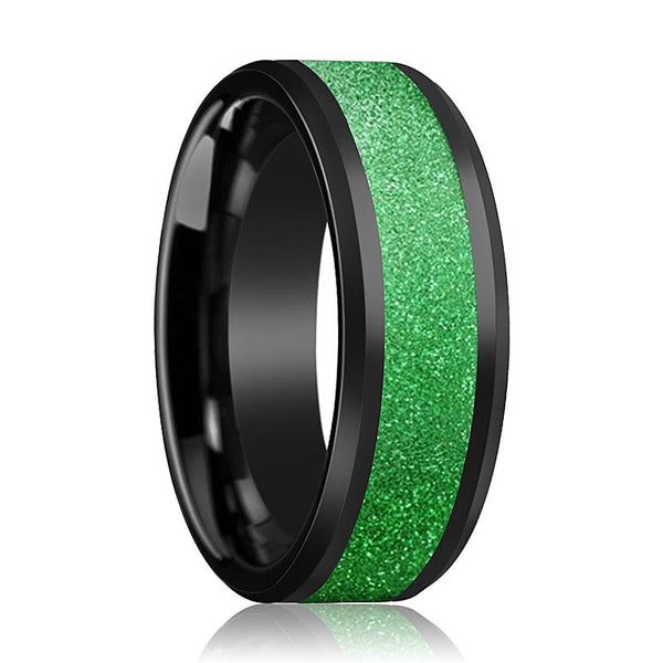 Black Ceramic Ring - Sparkling Green Inlay - Ceramic Wedding Band - Beveled - Polished Finish - 8mm - Ceramic Wedding Ring - AydinsJewelry