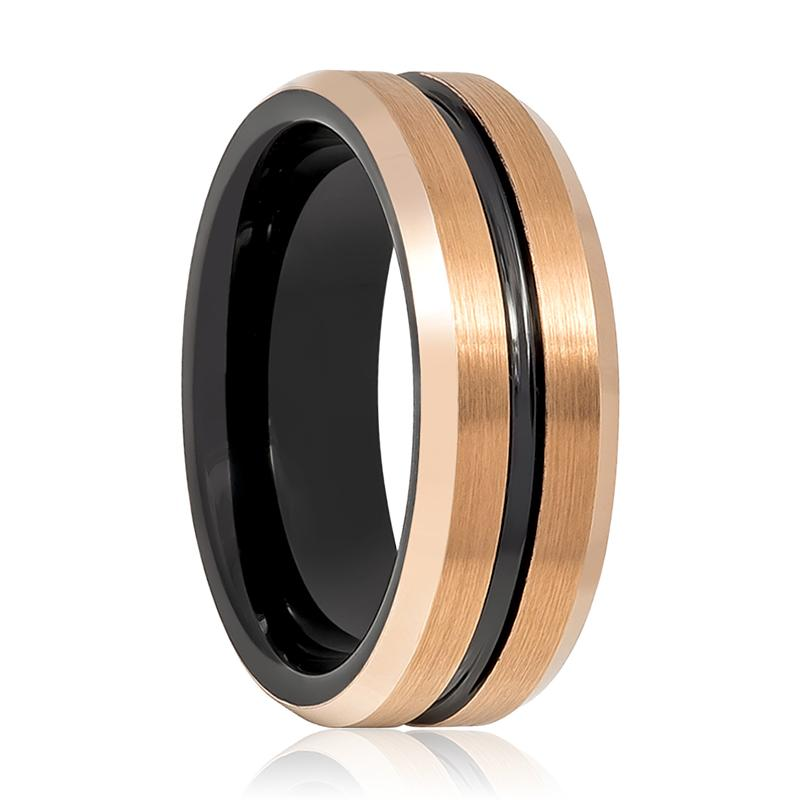 Comfort Fit Rose Gold & Black Grooved Tungsten Men's Wedding Band with Beveled Edges - Rings - Aydins_Jewelry