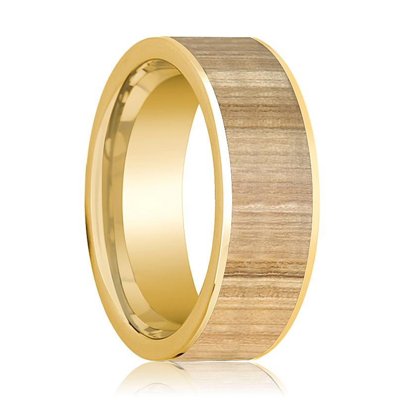 Ash Wood Inlaid Men's 14k Yellow Gold Wedding Band Flat Polished - 8MM - Rings - Aydins_Jewelry