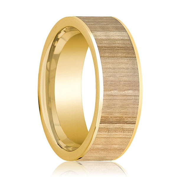 Mens Wedding Ring Polished 14k Yellow Gold Flat Wedding Band with Ash Wood Inlay - 8mm - AydinsJewelry