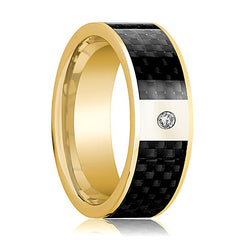 Mens Wedding Band 14K Yellow Gold and Diamond with Black Carbon Fiber Inlay Flat Polished Design - AydinsJewelry