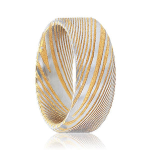 JESPER Brushed Gold Damascus Steel Men's Wedding Band with A Vivid Design & Beveled Edges - 6MM - 8MM - Rings - Aydins_Jewelry