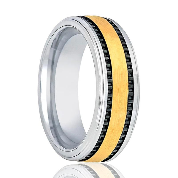 Aydins Gold & Silver Mens Tungsten Wedding Band Brushed 8mm Black Stripes On Side Tungsten Carbide Wedding Ring - AydinsJewelry