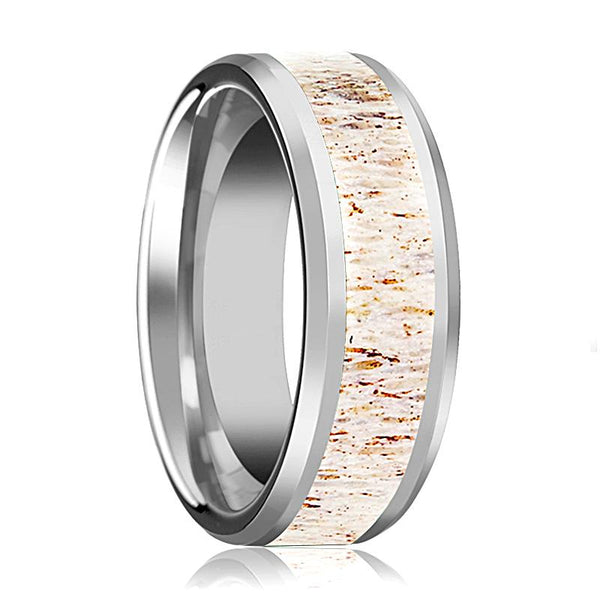 Tungsten Off White Antler Inlay - Tungsten Wedding Band - Beveled - Polished Finish - 8mm - Tungsten Wedding Ring - AydinsJewelry