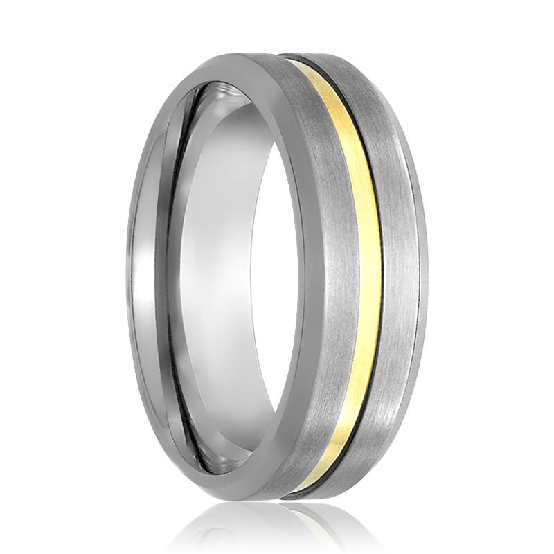 Aydins Mens Tungsten Wedding Band Brushed Gold Groove Center 7mm Tungsten Carbide Ring - Rings - Aydins_Jewelry