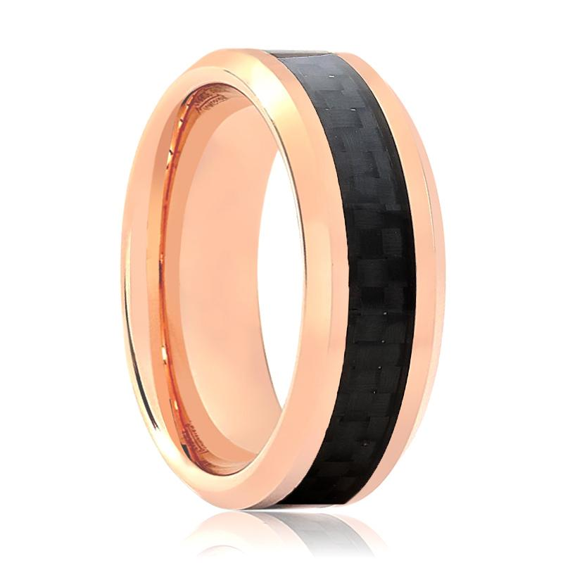Aydins Rose Gold & Carbon Fiber Inlay Tungsten Wedding Ring for Men & Women Tungsten Carbide Band - Rings - Aydins_Jewelry