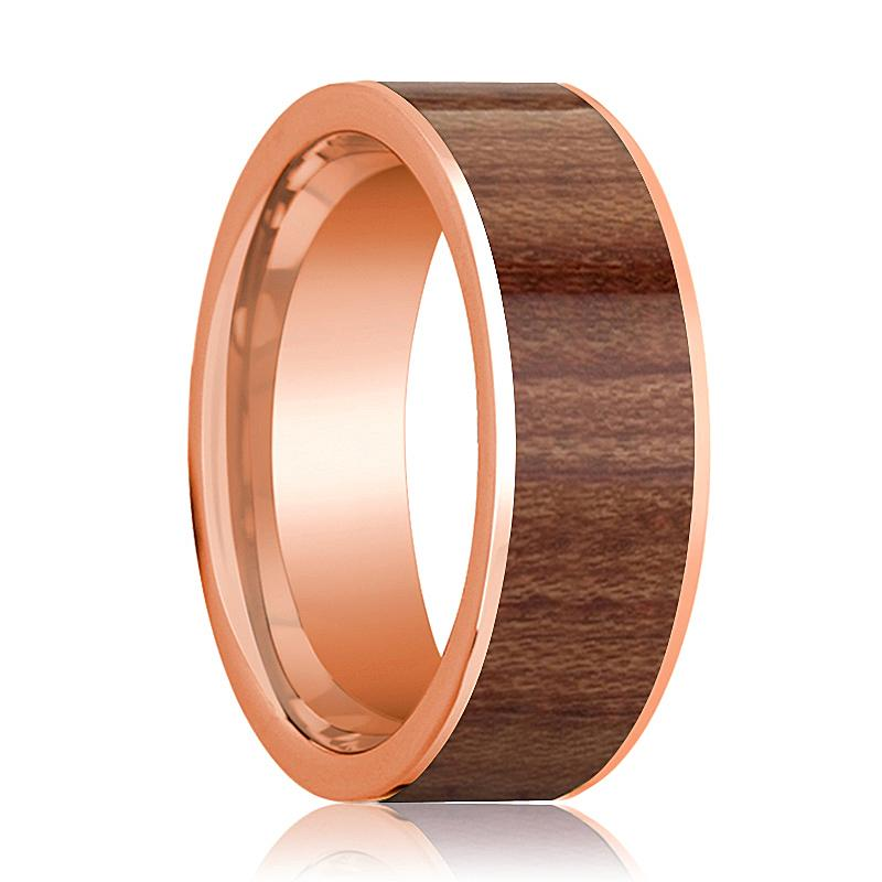 Men's Flat 14k Rose Gold Wedding Band with Rose Wood Inlay Polished Finish - 8MM