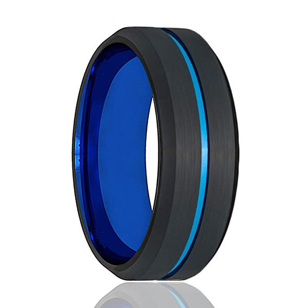 ATOM Beveled Edge with Blue Groove Tungsten Wedding Band - AydinsJewelry