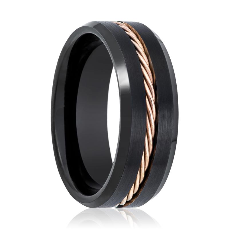 Black Brushed Men's Tungsten Wedding Band with Rose Gold Rope in Center - Rings - Aydins_Jewelry