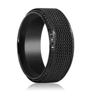 NURGLE Steel Chain Black Titanium Ring with Polished Beveled Edges Set with Round Black Diamonds - 10MM