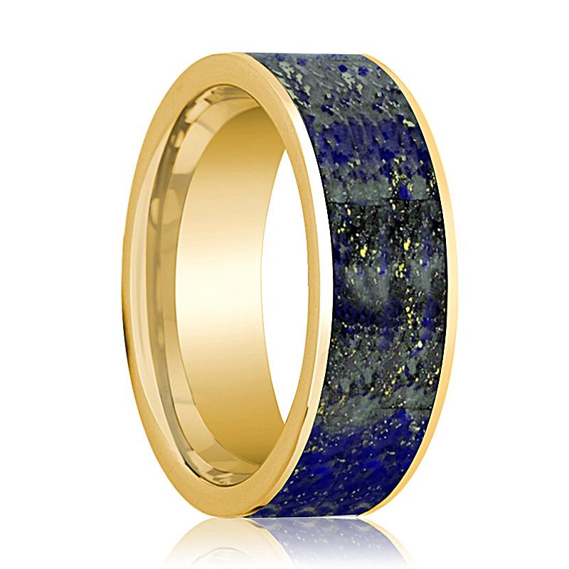 Mens Wedding Band 14K Yellow Gold with Blue Lapis Lazuli Inlay Flat Polished Design - AydinsJewelry