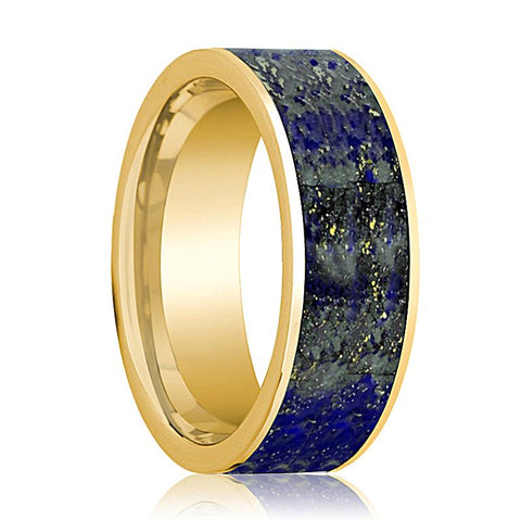 Image of Flat Polished 14k Yellow Gold Men's Wedding Band with Blue Lapis Lazuli Inlay - 8MM - Rings - Aydins_Jewelry