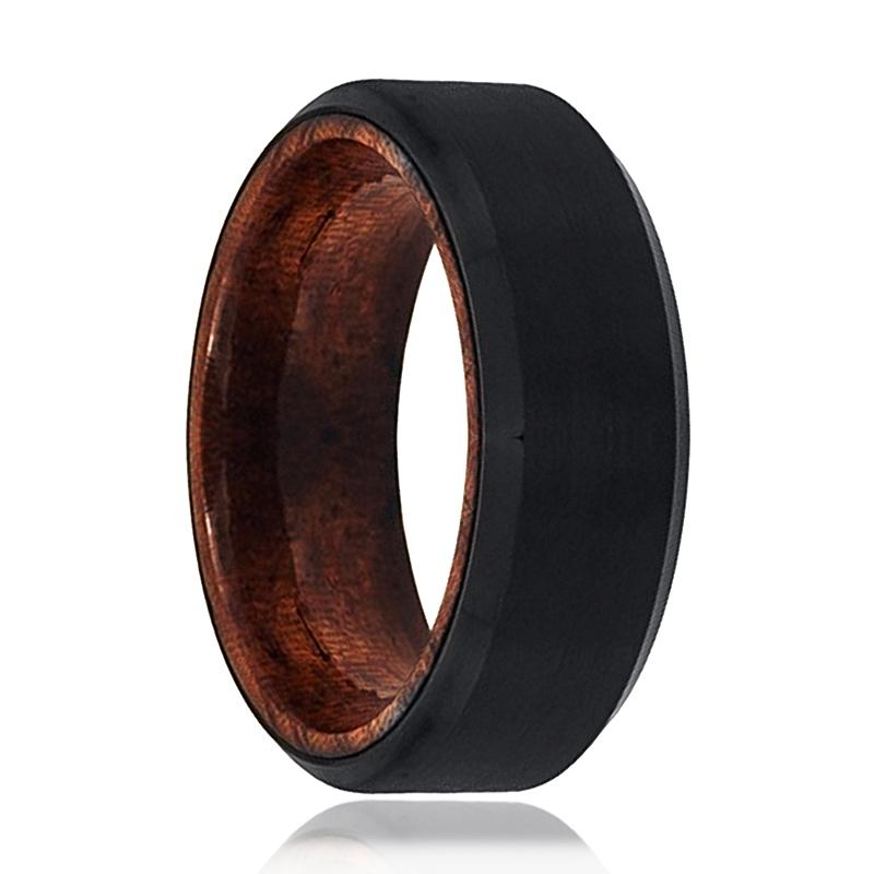 Tungsten Wooden Ring - Mens Wedding Band - Black Mens Ring - Man Ring - Wood Ring - Black Tungsten Wedding Band - Beveled Edge - Brushed - AydinsJewelry