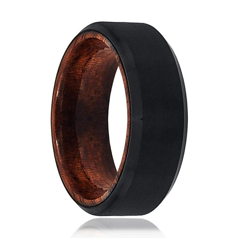 Image of Tungsten Wooden Ring - Mens Wedding Band - Black Mens Ring - Man Ring - Wood Ring - Black Tungsten Wedding Band - Beveled Edge - Brushed - AydinsJewelry
