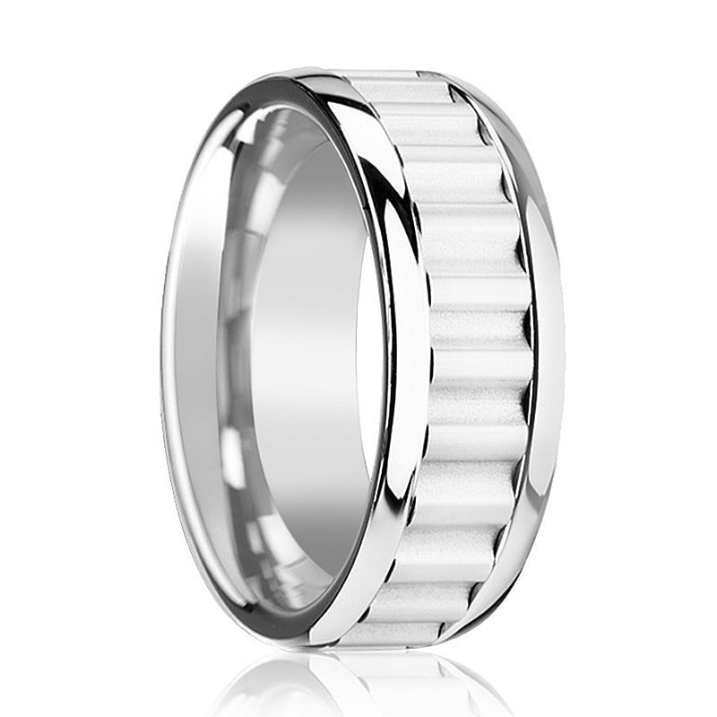 CUTLASS Tungsten Carbide Wedding Band with Gear Teeth Inlay & Polished Edges - 9mm