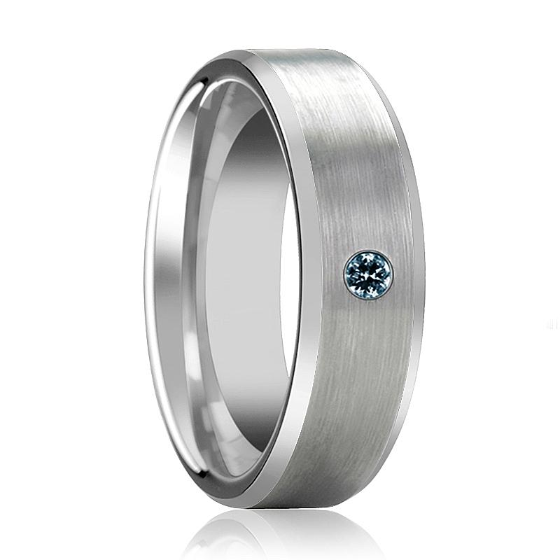ISAAC Silver Brushed Men's Tungsten Wedding Band with Blue Diamond & Beveled Edges - 6MM - 8MM - Rings - Aydins_Jewelry