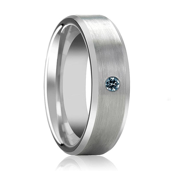 ISAAC Silver Tungsten Blue Diamond Wedding Ring