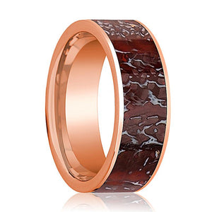 Dinosaur Bone Ring - Red Dinosaur Bone Inlay - Flat Polished 14K Rose Gold - Polished Finish - 8mm - 14k Rose Gold Wedding Ring - AydinsJewelry