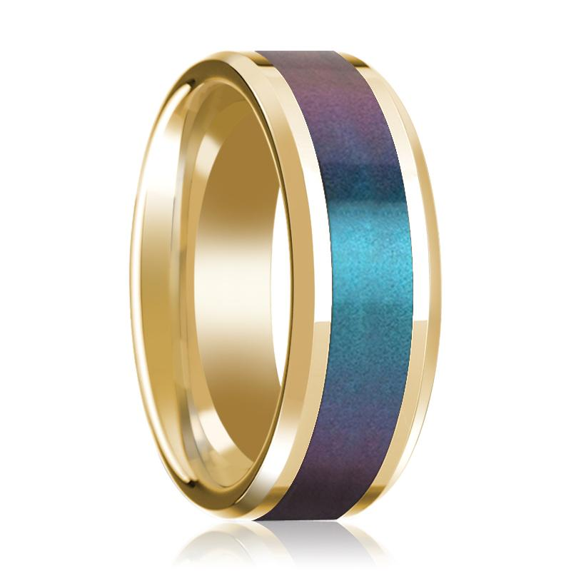 Blue/Purple Color Changing Inlaid Men's 14k Yellow Gold Polished Wedding Band with Beveled Edges - 8MM - Rings - Aydins_Jewelry