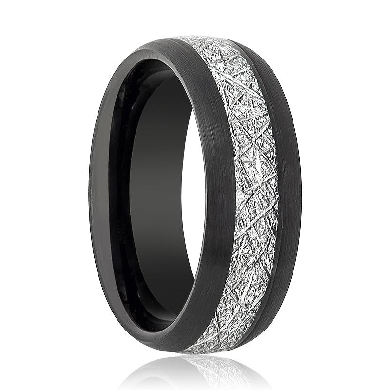 Black Brushed Domed Tungsten Wedding Band for Men with Meteorite Inlay - 8MM - Rings - Aydins_Jewelry