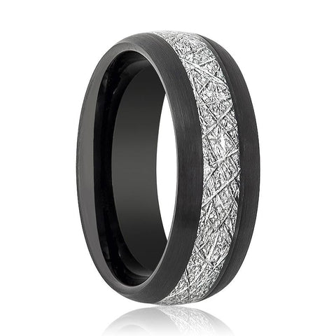 Image of Black Brushed Domed Tungsten Wedding Band for Men with Meteorite Inlay - 8MM - Rings - Aydins_Jewelry