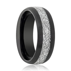 Aydins Tungsten Ring Black Brushed Domed w/ Meteorite Inlay Center Wedding Band 8mm Tungsten Carbide Wedding Ring - AydinsJewelry