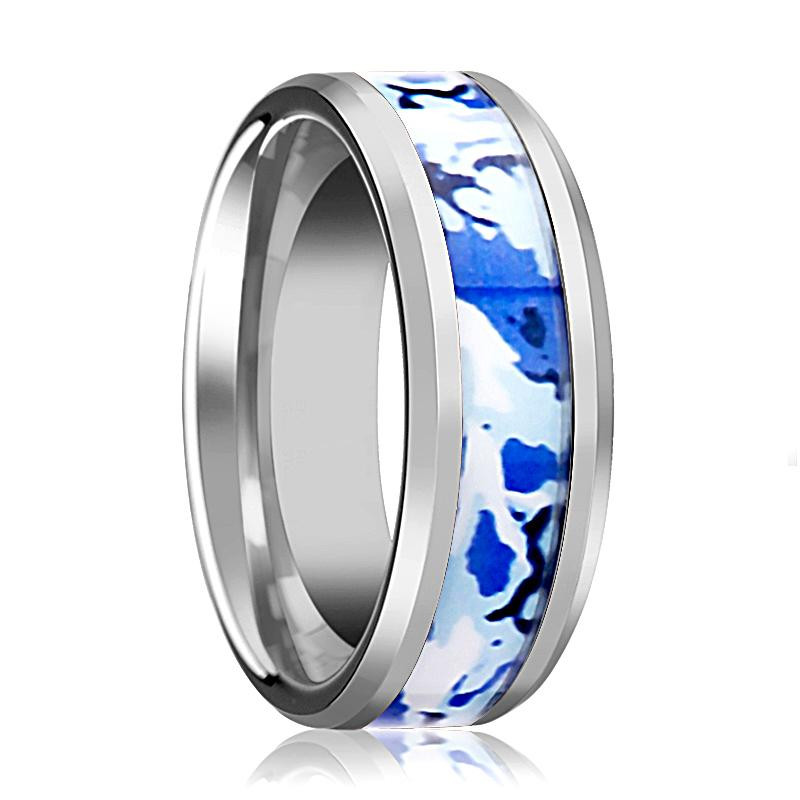 Tungsten Camo Ring - Blue and White Camouflage - Tungsten Wedding Band - Beveled - Polished Finish - 8mm - Tungsten Wedding Ring - AydinsJewelry