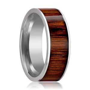 Flat Tungsten Wedding Ring with Rare Koa Wood Inlay and Polished Finish - Rings - Aydins_Jewelry