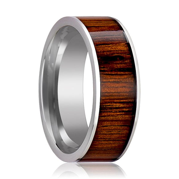 Tungsten Wood Ring - Rare Koa Wood Inlay - Tungsten Wedding Band - Polished Finish - 6mm - 7mm - 8mm - 10mm - Tungsten Wedding Ring - AydinsJewelry