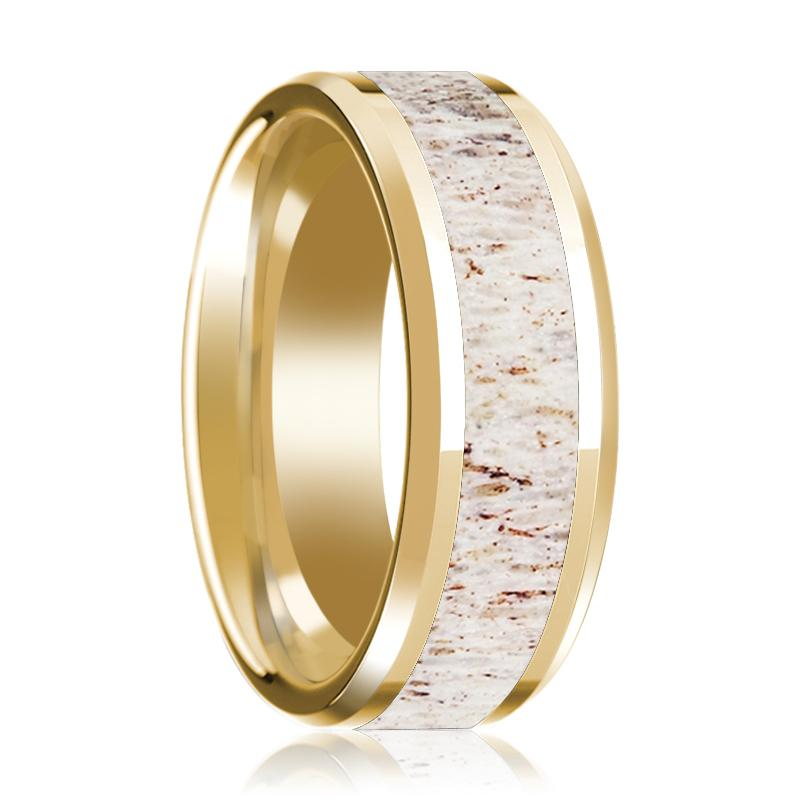 14K Yellow Gold Wedding Ring with White Deer Antler Inlay Beveled Edge and Polished - AydinsJewelry