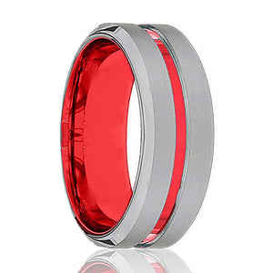 BMW Polished Red and Silver Tungsten Men's Wedding Band with Beveled Edges - Rings - Aydins_Jewelry