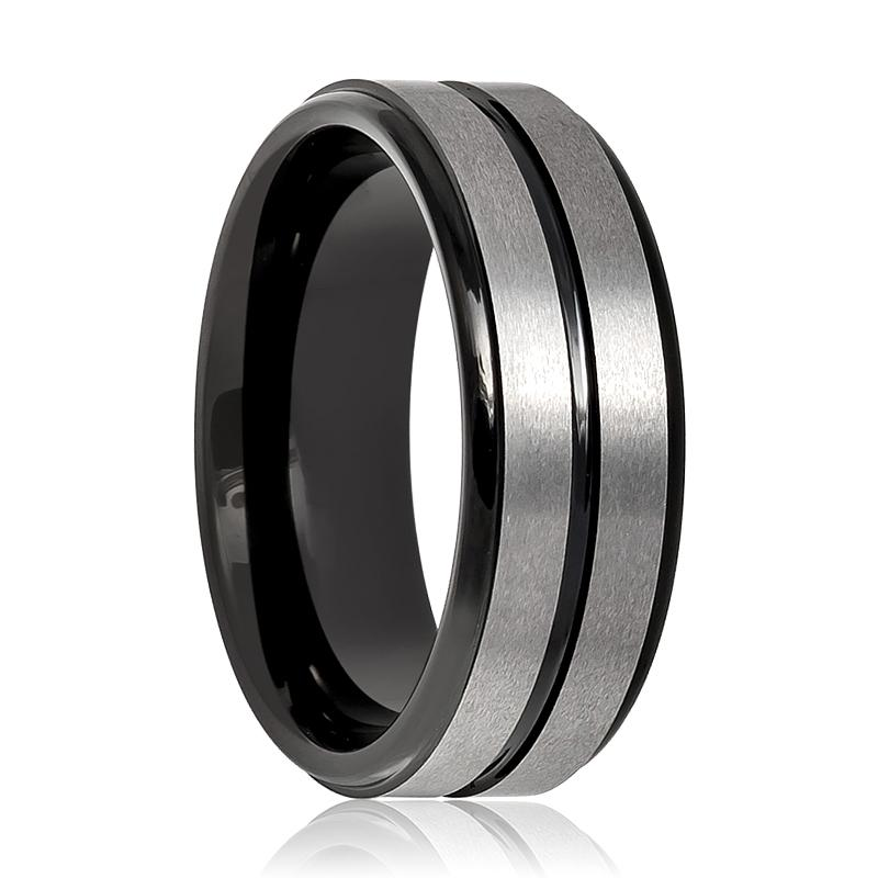 Aydins Tungsten Mens Wedding Band Gun Metal Brushed w/ Black Groove 8mm Tungsten Carbide Ring - Rings - Aydins_Jewelry