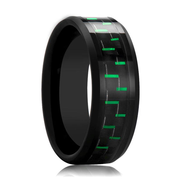 Black Ceramic Ring - Black & Green Carbon Fiber  - Ceramic Wedding Band - Beveled - Polished Finish - 8mm - AydinsJewelry