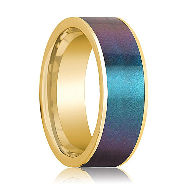 Mens Wedding Band 14K Yellow Gold with Blue/Purple Color Changing Inlaid Flat Polished Design - AydinsJewelry