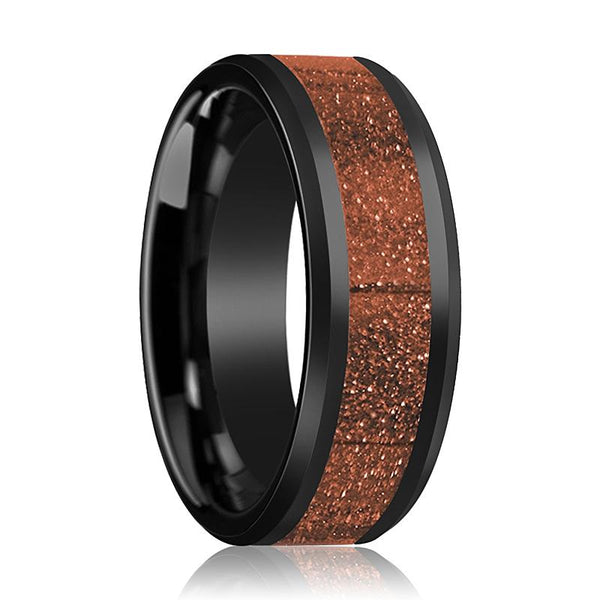 Black Ceramic Ring - Orange Goldstone Inlay - Ceramic Wedding Band - Beveled - Polished Finish - 8mm - Ceramic Wedding Ring - AydinsJewelry