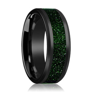 EDRIC Green Goldstone Inlaid in Ceramic Wedding Band - Rings - Aydins_Jewelry