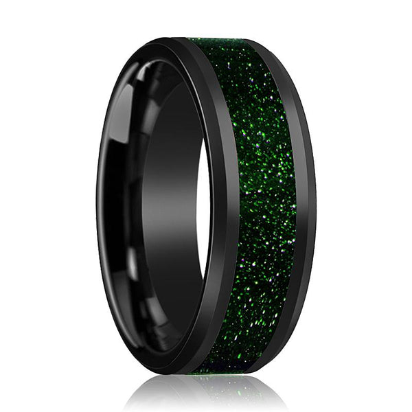Black Ceramic Ring - Green Goldstone Inlay - Ceramic Wedding Band - Beveled - Polished Finish - 8mm - Ceramic Wedding Ring - AydinsJewelry