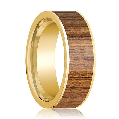 Image of Mens Wedding Band Polished 14k Yellow Gold Wedding Ring with Teak Wood Inlay - 8mm - AydinsJewelry