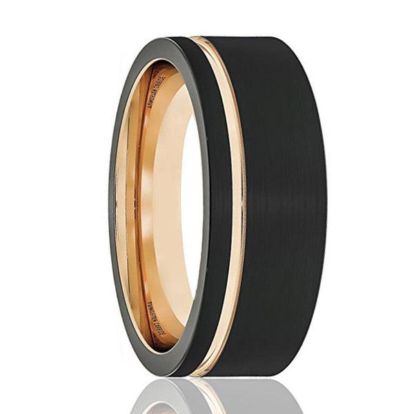 Mens Wedding Band - Tungsten Wedding Band - Thin Side Rose Gold Groove Flat Edge  - Tungsten Wedding Ring - Man Tungsten Ring - 8mm - AydinsJewelry