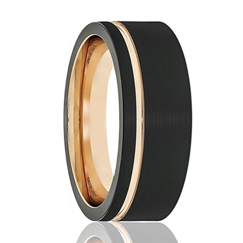 Image of FALCON Thin Off Set Rose Gold Groove Black Tungsten Wedding Band Brushed Finish - Rings - Aydins_Jewelry